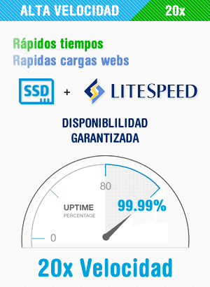 Nuestros servidores incluyen tecnología de almacenamiento SSD, LiteSpeed y un equipo de soporte técnico 24 horas que son muestras de garantía que de nuestro servicio sea estable, veloz y esté disponible 99,99%