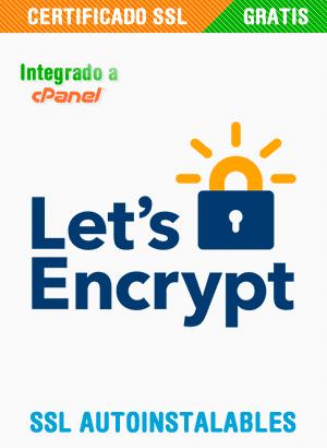Incluimos el más seguro sistema de certificación SSL gratuita en todo el internet. Con Let's Encrypt nuestros clientes podrán solucionar sus problemas de encriptación y posicionamiento web de manera sencilla y sin costes adicionales.